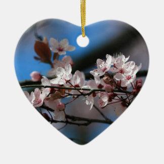 Plum blossom ceramic heart decoration