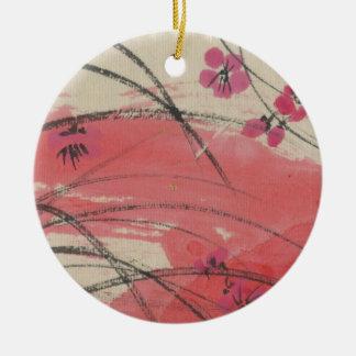 Plum Blossom Grass Round Ceramic Decoration