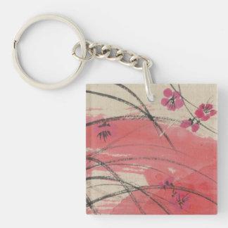 Plum Blossom Grass Single-Sided Square Acrylic Key Ring