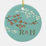 Plum Blossom Monogram Custom Ornament Teal Blue