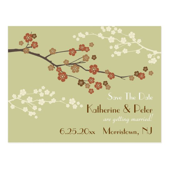 Plum Blossom Save The Date Announcement Postcard Y