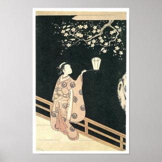 Plum Blossom Viewing, Harunobu, 1760s Poster
