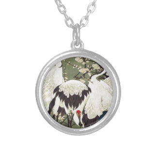 Plum Blossoms and Cranes by Ito Jakuchu Round Pendant Necklace