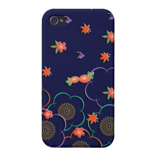 Plum blossoms and leaves on dark blue iPhone 4 cover