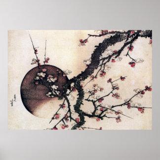 Plum Blossoms and the Moon, Hokusai Print