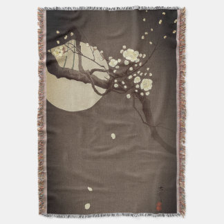 Plum Blossoms at Night by Ohara Koson Elegant Throw Blanket