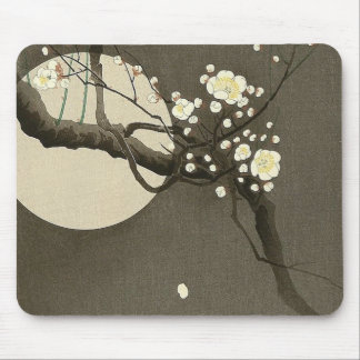 Plum Blossoms at Night by Ohara Koson Vintage Mouse Pad