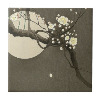 Plum Blossoms at Night by Ohara Koson Vintage Tile