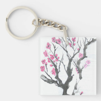 Plum Blossoms in Spring Single-Sided Square Acrylic Key Ring