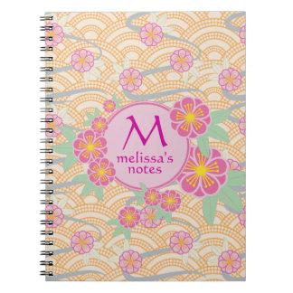 Plum Blossoms Japanese Ume Pink Orange Seigaiha Notebooks