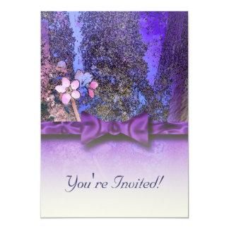 Plum Blossoms Ribbon Purple Cards