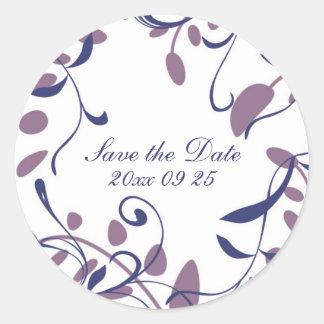 Plum Blue Swirls Save the Date Envelope Seals Round Sticker