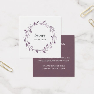 Plum Botanical Wreath Square Business Card