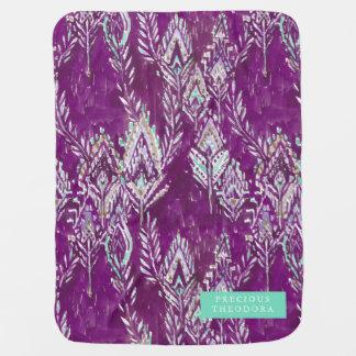 Plum Brave Feather Tribal Print Baby Blanket
