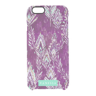 Plum Brave Feather Tribal Print CUSTOMIZABLE Clear iPhone 6/6S Case