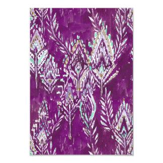 Plum Brave Feather Tribal Print Thank You Card 9 Cm X 13 Cm Invitation Card