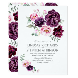 Plum Burgundy and Blush Floral Watercolor Wedding Card