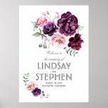 Plum Burgundy Blush Floral Watercolor Wedding Sign