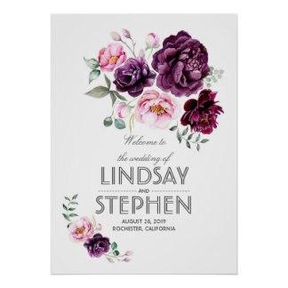 Plum Burgundy Blush Floral Watercolor Wedding Sign