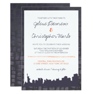 Plum & Burnt Orange New York Skyline Wedding Card
