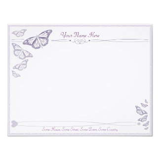 Plum Butterfly Correspondence Cards 11 Cm X 14 Cm Invitation Card