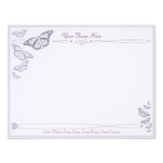 Plum Butterfly Correspondence Cards Personalized Announcement