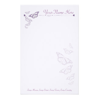 Plum Butterfly Personalised Note Paper Stationery Design
