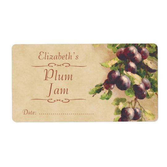Plum Canning label