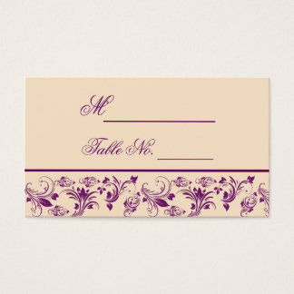 Plum Champagne Floral Scroll Wedding Place Card