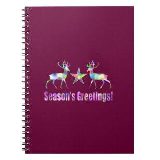 Plum Christmas Reindeer Season's Greetings Notebooks