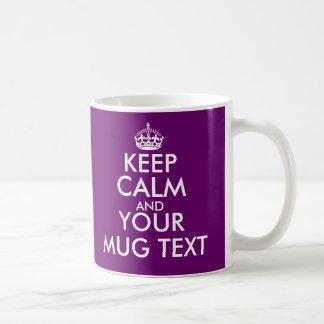 Plum colour Keep Calm Mug   Customise text