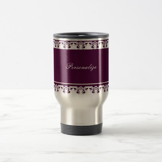 Plum Damask Border Travel Mug