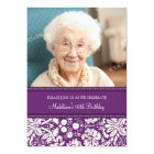 Plum Damask Photo 90th Birthday Party Invitations