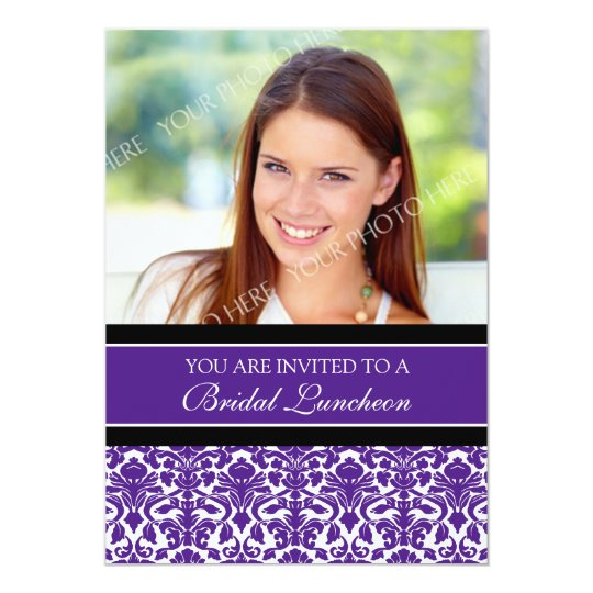 Plum Damask Photo Bridal Luncheon Invitation Cards