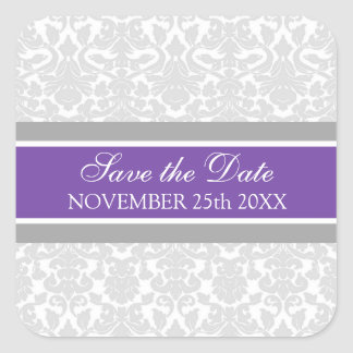 Plum Damask Save the Date Envelope Seal Square Sticker