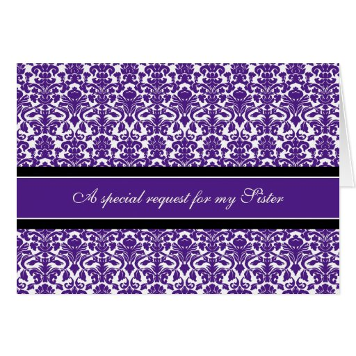 Plum Damask Sister Bridesmaid Invitation Card