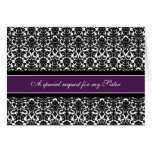 Plum Damask Sister Matron of Honour Invitation