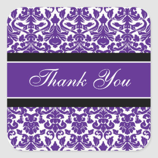 Plum Damask Thank You Wedding Envelope Seals