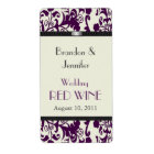 Plum Damask Wedding Mini Wine Labels
