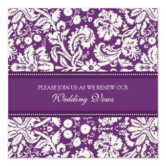 Plum Damask Wedding Vow Renewal Invitations