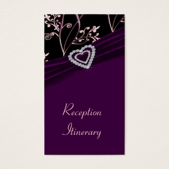 Plum Elegance Heart Floral Swirls Business Card