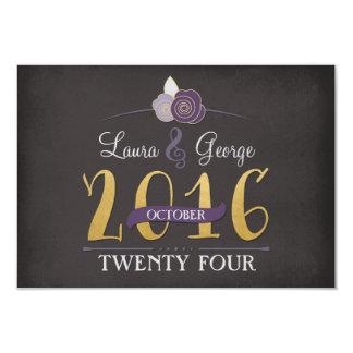 Plum Faux-Gold and Chalk Floral Wedding RSVP card 9 Cm X 13 Cm Invitation Card
