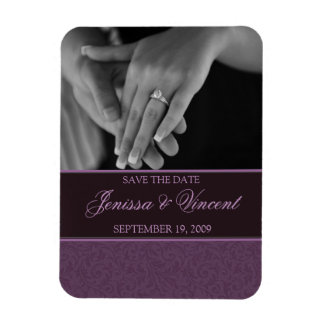 "Plum Filigree Save the Date Magnet 3"" x 4"""