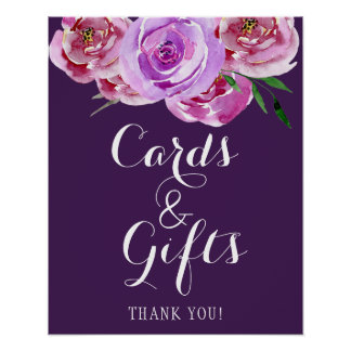 Plum floral peonies bouquet cards and wedding sign