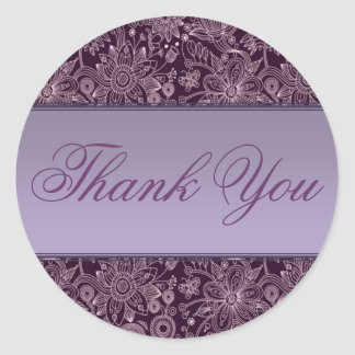 Plum Floral Thank You Sticker Seal