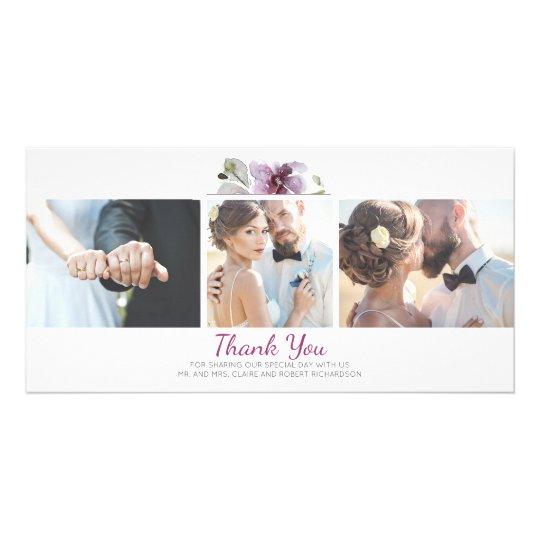 Plum Floral Watercolor 3 Photos Wedding Thank You