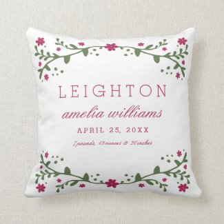 Plum Florals Baby Birth Information Pillow
