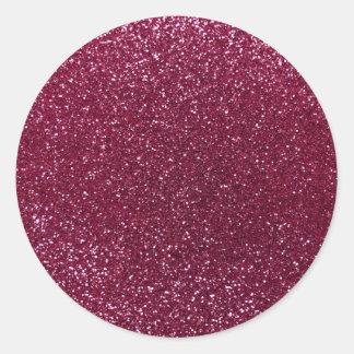 Plum glitter classic round sticker
