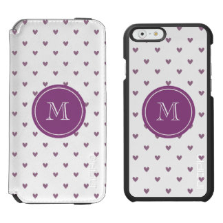 Plum Glitter Hearts with Monogram Incipio Watson™ iPhone 6 Wallet Case