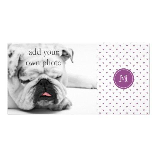 Plum Glitter Hearts with Monogram Custom Photo Card